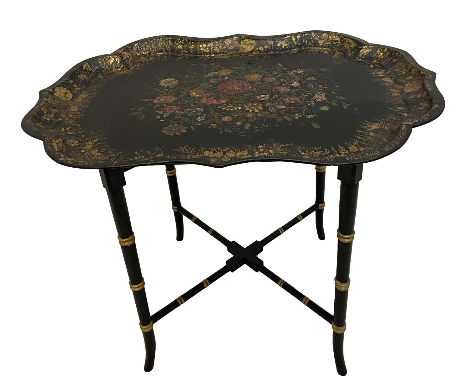 Henry Clay Lacquer Papier Mache Tray on stand